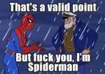 Es un punto valido el tuyo... pero Fuck you soy Spiderman