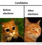 Los politicos antes y despues de las elecciones
